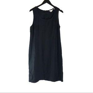 J Crew Black 100% Linen Shift Dress